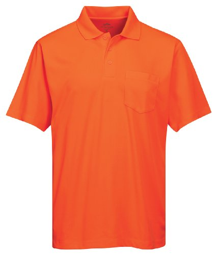 Tri-Mountain Men's 5 oz Moisture Wicking Polyester Shirt w/Pocket Osha Orange 3X Tall