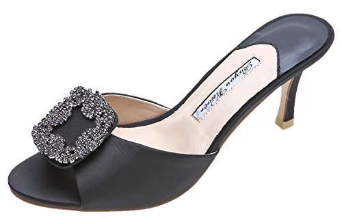 Bling Royou Sandals Toe Pumps Black Diamonds Peep Mule Yiuoer Women's a6x6EH