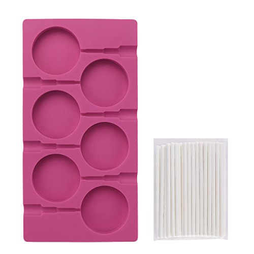Lollipop Mold, Beasea 6 Cavity Hard Candy Molds DIY Lollipop Silicone Cake Chocolate Molds Fondant Ice Ball Handmade Soap Maker with 50 Lollipop Sticks