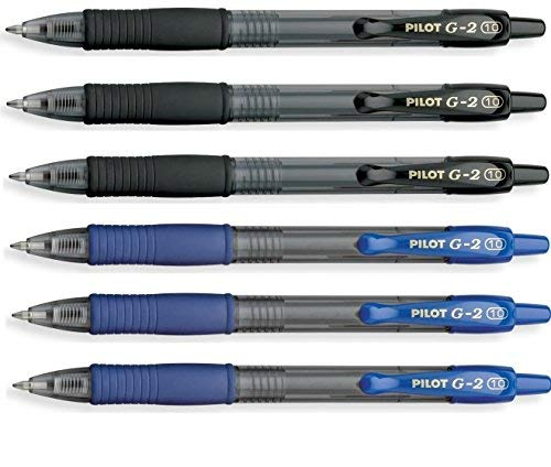 Pilot G2 pens retractable Gel Roller ballpoint Bold pt 1.0 Black & Blue Bundle, (6 COUNT)