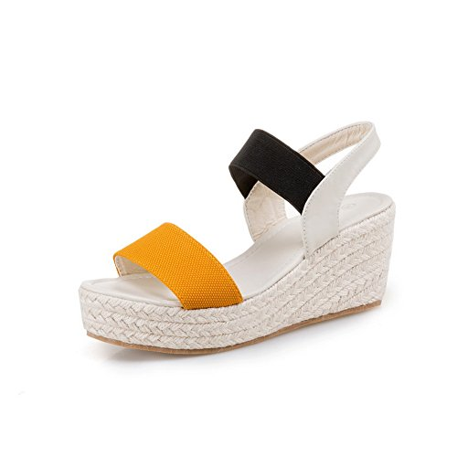 1TO9 Womens Assorted?Color Wedges Platform Elastic Fabric Platforms Sandals MJS02950 Yellow xP78T1i