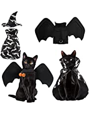 hatatit Halloween Pet Cat Costume Bat Wings Witch Cloak Wizard Hat Set for Small Cats Kittens Dogs Cosplay Halloween Party Decoration Bat Costume Cat Dress Up Accessories