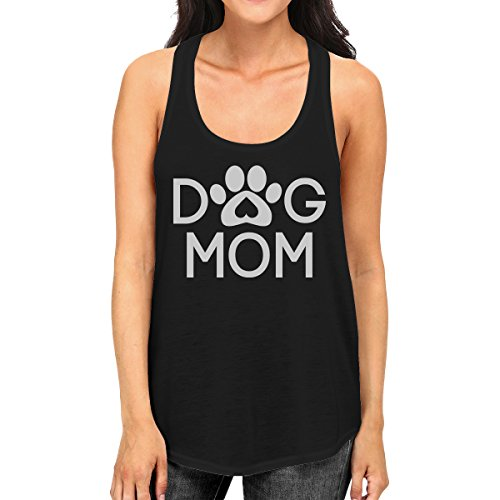 - 365 Printing Dog Mom Women's Black Cute Dog Paw Graphic Tank Top for Dog Lovers