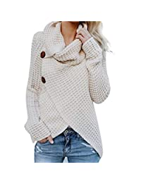 KOERIM Womens Turtleneck Sweater Chunky Casual Cable Knitted Pullover Tops