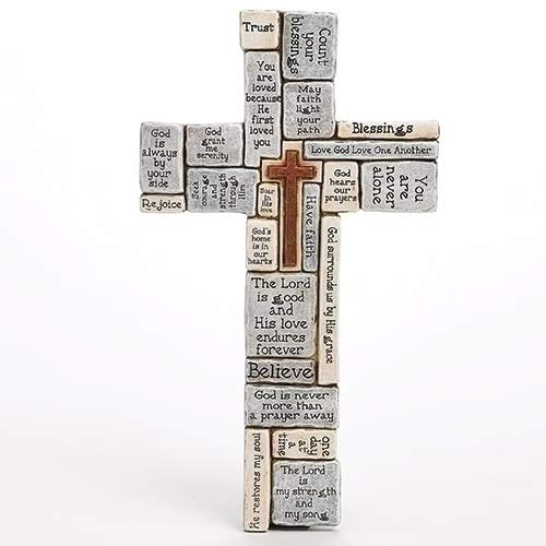 Roman inc. Christians Words and Saying Crossword 16 inch Resin Stoneware Wall Cross -