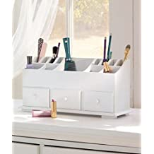 VANITY DRAWER BEAUTY ORGANIZER 3 Drawers - White Wooden Cosmetic Storage Box for Neat & Organize Storing of Makeup Tools, Small Accessories at Home & Office for Vanities & Bathroom Counter-top