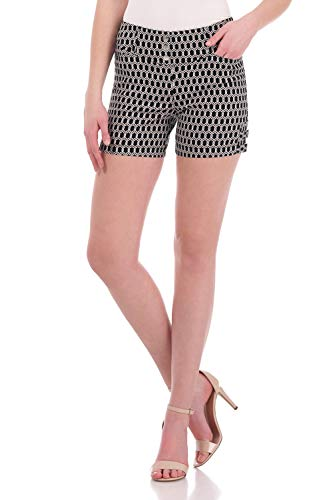 Rekucci Women's Ease Into Comfort Stretchable Pull-On 5 inch Slimming Tab Short (10,Black/White Geo Chain)