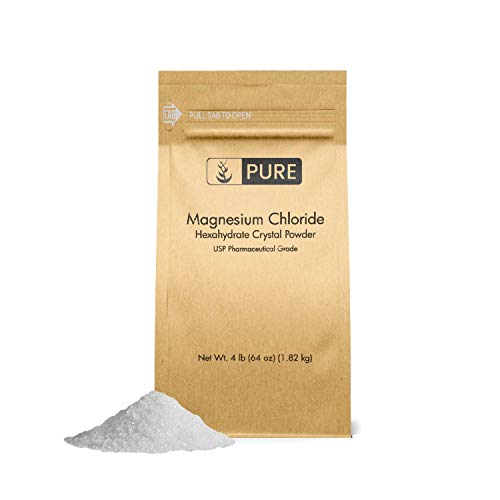Magnesium Chloride (4 lb.) by Pure Organic Ingredients, Eco-Friendly Packaging, Crystal Powder, Highest Quality, Oral Supplement, Food & USP Pharmaceutical Grade (Also Available in 4 oz, 1 lb, 2 lb)