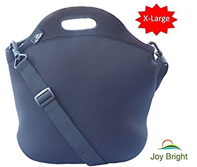 JOY BRIGHT Neoprene Lunch Bag With Heavy Duty Zipper - Reusable Easy To Clean Extra Large - Keeps Lunch Fresh - Eco-friendly Black Cooler Bag