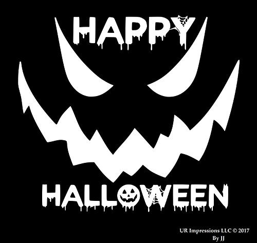 UR Impressions 10in. Happy Halloween Spooky Face Decal Vinyl Sticker Graphics Cars Trucks SUV Vans Walls Windows Laptop Tablet|White|10 X 8.5 Inch|JJURI124]()