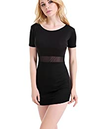 Women's Sexy Sheer Short Sleeve Bodycon Little Black Dress