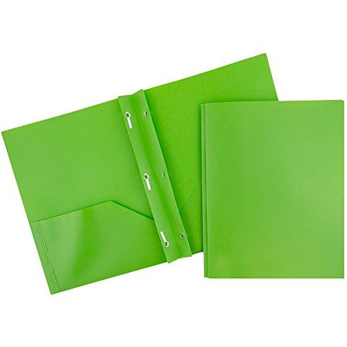 JAM PAPER Plastic 2 Pocket School POP Folders with Metal Prongs Fastener Clasps - Lime Green - Bulk 96/Pack ()