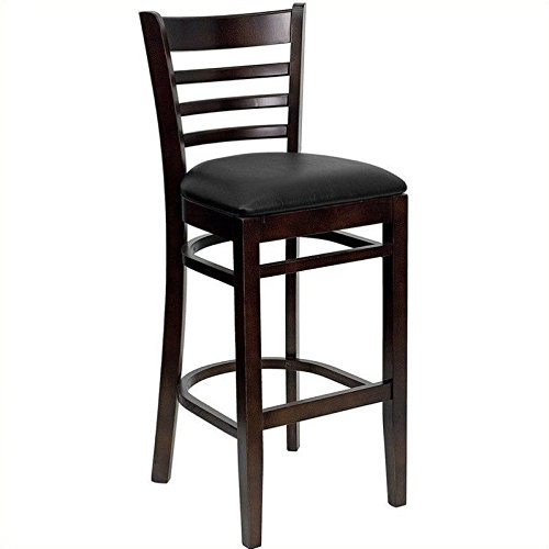 Flash Furniture HERCULES Series Ladder Back Walnut Wood Restaurant Barstool - Black Vinyl Seat