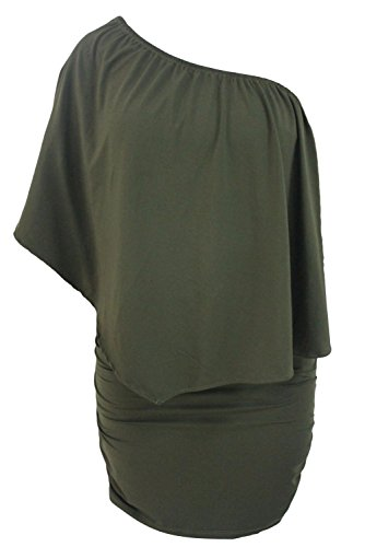 Sidefeel Women Off Shoulder Ruffles Party Mini Dress Large Green