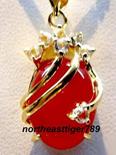 FidgetGear Charming 18KGP Crystal Red Jade Pendant and Necklace