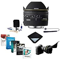 Adorama Sigma 15mm f/2.8 EX DG AutoFocus Diagonal FishEye Lens for Nikon AF - USA Warranty - Bundle with Flex Lens Shade, Cleaning Kit, Lens Wrap, Lens CapLeash II, Software Package