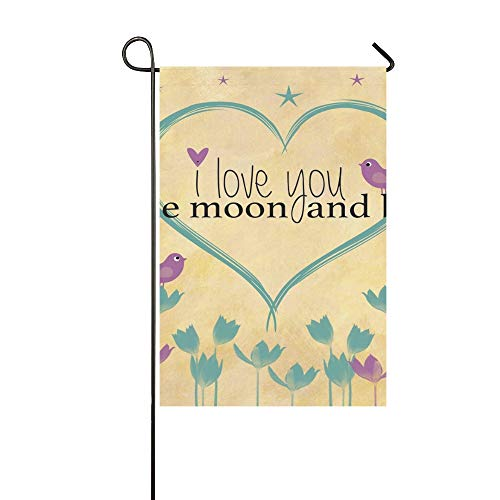 WUTMVING Home Decorative Outdoor Double Sided Love You Moon Back Word Art Garden Flag,House Yard Flag,Garden Yard Decorations,Seasonal Welcome Outdoor Flag 12 X 18 Inch Spring Summer Gift ()