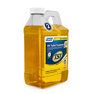 Camco TST Ultra-Concentrated Lemon Scent RV Toilet Treatment, Formaldehyde Free, Breaks Down Waste And Tissue, Septic Tank Safe, Treats Up To 16 - 40 Gallon Holding Tanks (64 oz Bottle) (41575): Automotive