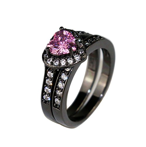 Gy Jewelry Cocktail Ring Heart Pink Sapphire Black Gold Filled Women's Wedding Ring Bridal Sets 2 in 1 Band Gifts (8)