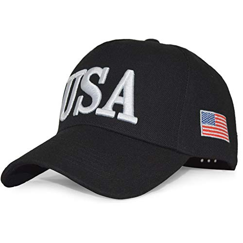 DISHIXIAO USA Baseball Cap Polo Style Adjustable Embroidered Dad Hat American Flag for Men and Women Black