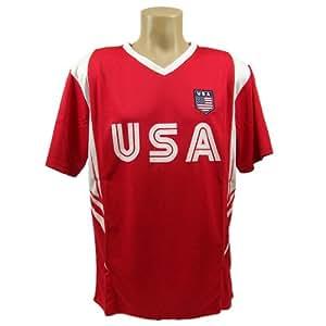 USA Soccer Red Wordmark Panel 2014 Training Jersey Medium