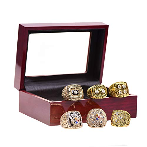 GF-sports store A Set of 6 Pittsburgh Steelers Super Bowl Championship Replica Ring by Display Box Set-(Yellow) -
