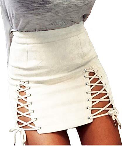 Suede Criss Cross - Aliwendy Women Sexy Criss Cross Tight Bodycon High Waist Faux Suede Stretch Mini Skirt(White Medium)