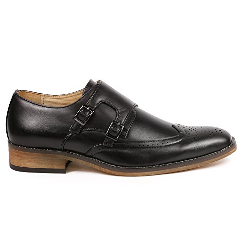 Dress On Monk Perforated UV Strap UV042 Wing SIGNATURE Mens Loafers Black Shoes Double Slip Tip q747xwfv1