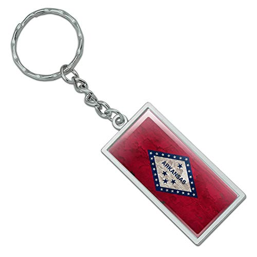 (Graphics and More Rustic Arkansas State Flag Distressed USA Rectangle Chrome Plated Metal Keychain Key Chain)