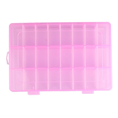 Usstore  Women 24 Compartment Plastic Jewelry Box Transparent Earring Case High Capacity Makeup Cosmetic Storage (C, 19cm x 12.5cm x 3.5cm)