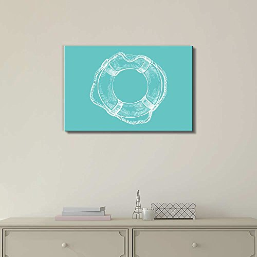 Wll Art Life Ring Buoy on Teal Background and