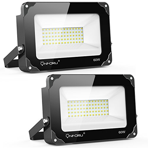 Onforu 2 Pack 60W LED Flood Light, 6000lm Super Bright Security Lights, 5000K Daylight White, IP65 Waterproof Outdoor Landscape Floodlight for Yard, Garden, Playground, Party by Onforu