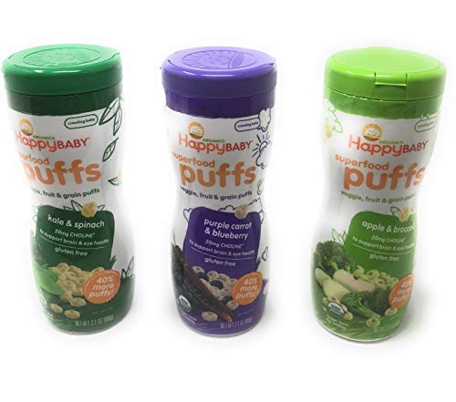Happy Baby Organic Puffs 2.1 Oz Mixed 3 Pack (1 Kale & Spinach, 1 Purple Carrot & Blueberry, 1 Apple & Broccoli)