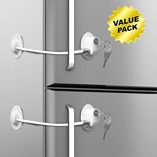 (Refrigerator Door Lock with 2 Keys for Multipurpose Security (3M VHB) for Child Safety Cabinet Lock, Dorm Fridge Lock, Compact Freezer Lock (2))