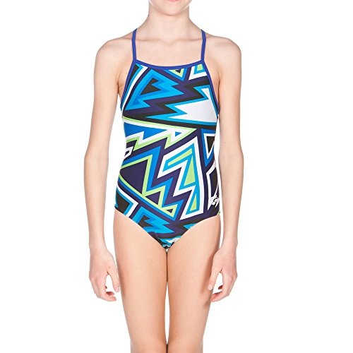 Arena Girls' Tulum jr one Piece fl, Danube Blue Multicolor, Size 26 (Suit Competition Arena)