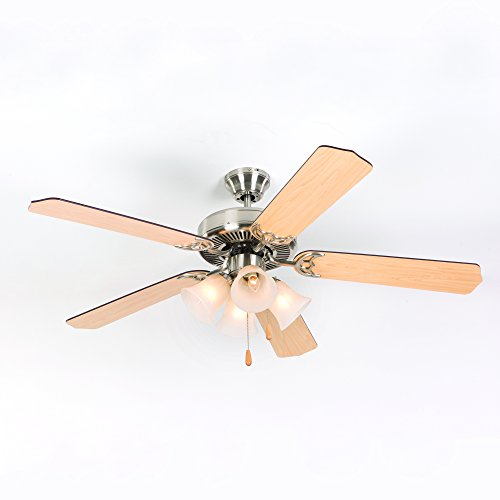Yosemite Home D cor WESTFIELD-BBN-4 Westfield Collection 52 Indoor Ceiling Fan, Brushed Nickel
