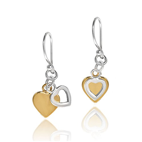 Two Tone Dangling Heart (Twin Dangle Heart Two Tone Gold Plated Silver Dangle Earrings)