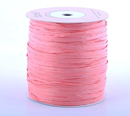 """ISPIE Rayon Raffia Crochet Yarn 1/4"""" 270-Yard Extra Large Spool Coral"""