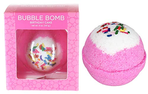 Birthday Cake Bubble Bath Bomb by Two Sisters Spa. Large 99% Natural Fizzy For Women, Teens and Kids. Moisturizes Dry Sensitive Skin. Releases Lush Color, Scent, and Bubbles. Handmade in USA. (Hugo Natural Bath Bomb)
