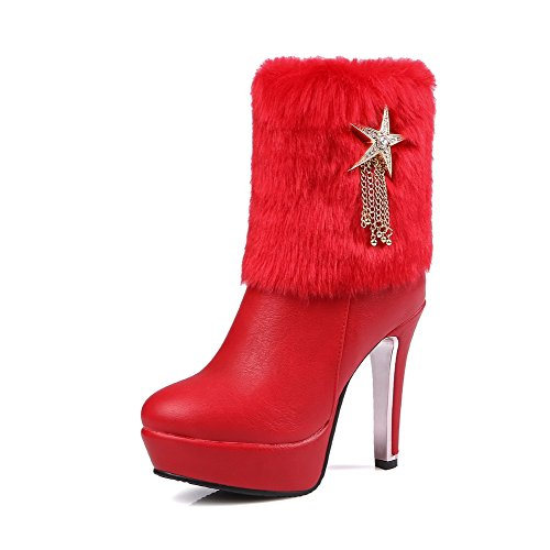 Round Heels Boots top Women's WeiPoot Toe Solid Material High Low Soft Red Closed FxFHPA