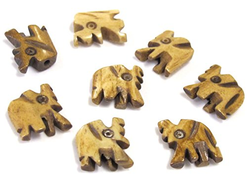 4 Beads - Small carved elephant design cream brown color bone beads - HB069