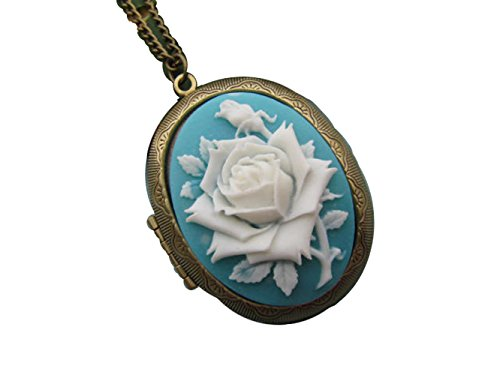 Rose Cameo Locket Necklace Love Rose Cameo Jewelry, Antique Bronze Charm ()