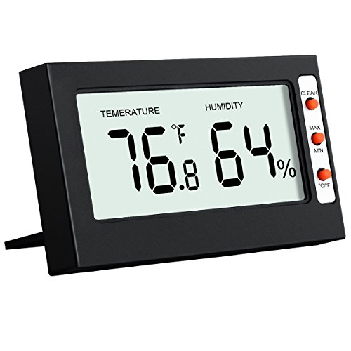 Oria Indoor Digital Thermometer Hygrometer Monitor - Temperature + Humidity Sensor with larger LCD Display, °C/°F Switchable with MIN/MAX Records - Excellent Digital Home Kit