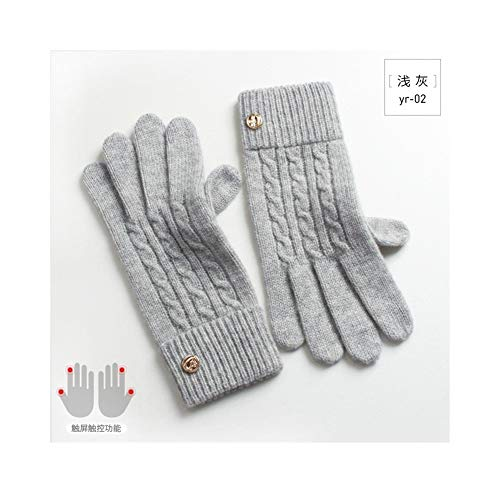 Lady's Wool Gloves Touch Screen Touch Warm Single Layer Cold Simple Pure Cashmere Gloves Various style gloves (Color : Light gray, Size : One size) ()