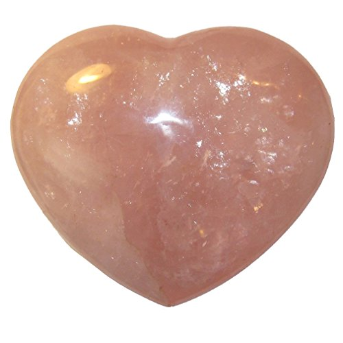 "Rose Quartz Heart 70 XL Love of My Life Positive Energy Healing Crystal Stone 4.5"""