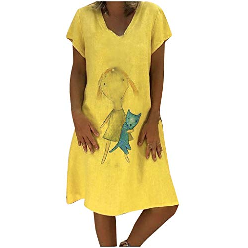 TANGSen Women Summer Style V-Neck Dress Short Sleeve Fashion T-Shirt Cotton Casual Plus Size Ladies Loose Dress