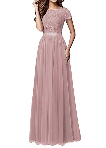 Pretygirl Womens Tulle Long Bridesmaid Dress Short Sleeves Lace Prom Evening Dresses (US14, Blush)