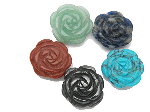 Fundamental Rockhound Products: 5 (Five) Hand Carved Flower Blossom Rose Beads Mixed Stones Gemstone Crystal ()