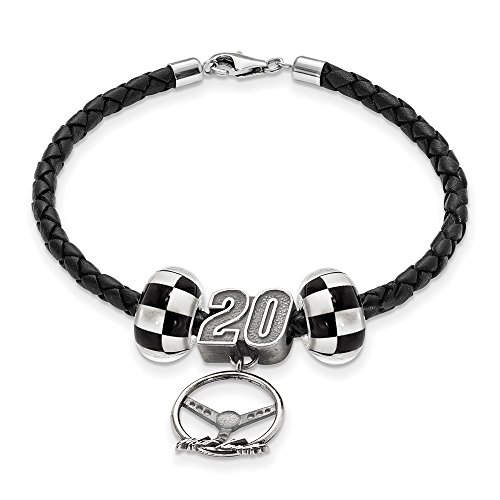 STERLING SILVER LogoArt Official Licensed NASCAR LEATHER BRACELET TWO CROSSED FLAG BEADS 20 MATT KENSETH BEAD STEERING by Logo Art