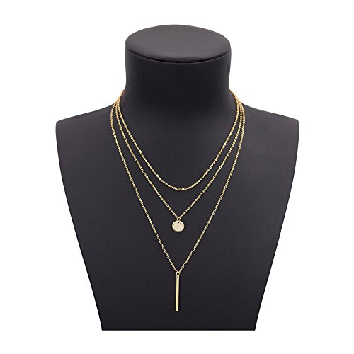 Shoopic Layered Coin Pendant Stick Bar Disc Sequins Lariat Multilayer Chain Necklace for Women